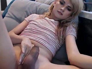 Beautiful Latin Tgirl Plays With Her Cock
