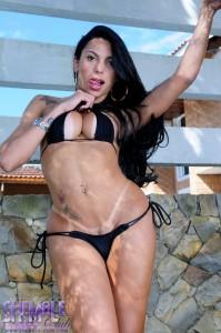 sexy brunette tranny in a bikini poses